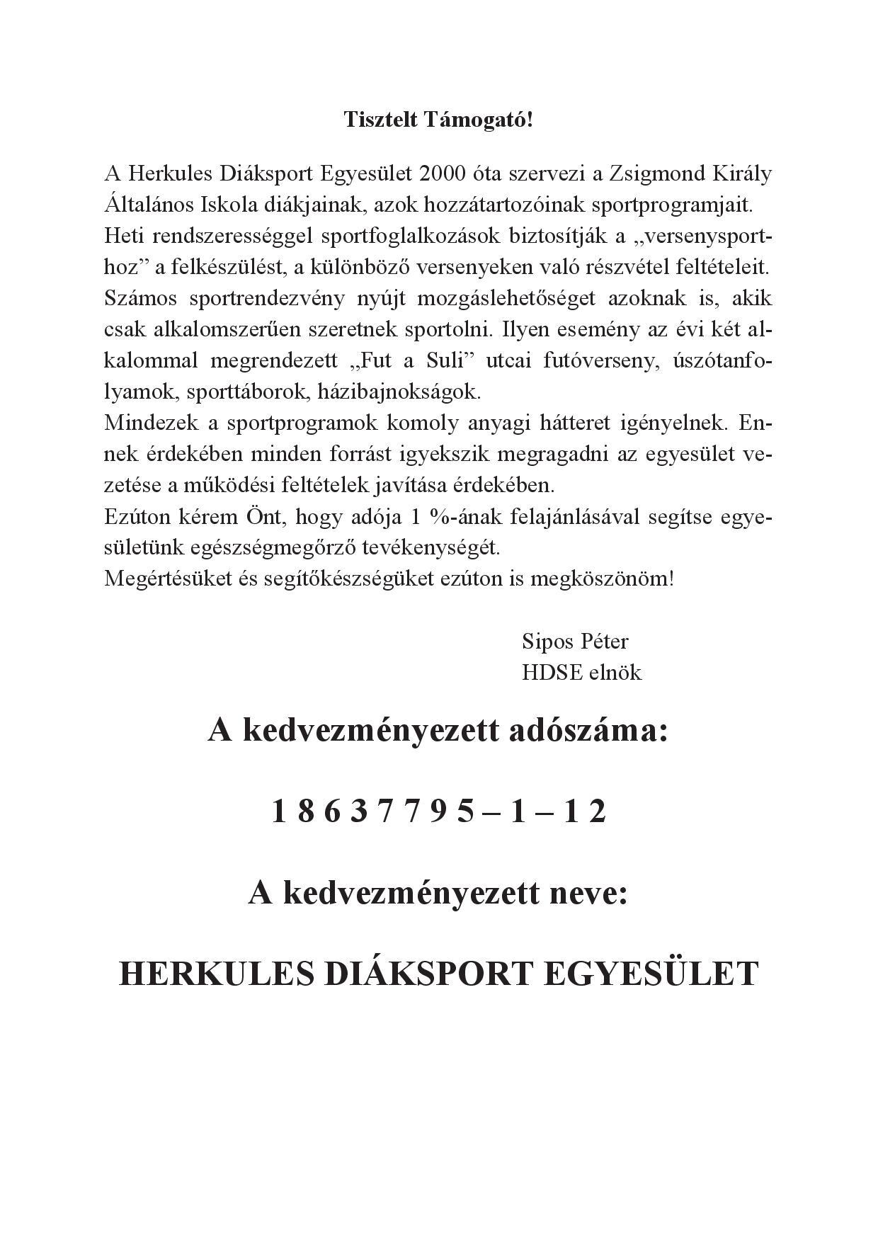 Herkules DSE közlemény